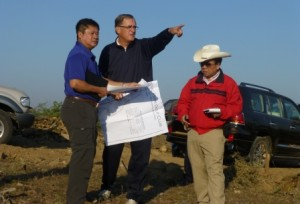 Kyi Hla Han (left), Lee Schmidt (centre) and U Aung Win Khaing (right) on site in Myanmar.