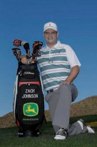 Zach Johnson will display the John Deere trademark on his golf bag. Picture courtesy Getty Images.