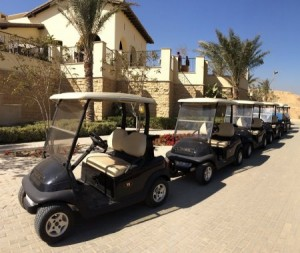The new Club Car fleet at Emaar's uptown Cairo resort.