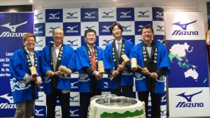 Mizuno officials celebrate the opening of the Singapore office.