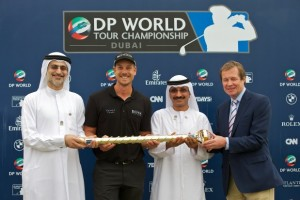 Henrik Stenson (second left) is congratulated on his win at last year's DP World Tour Championship.