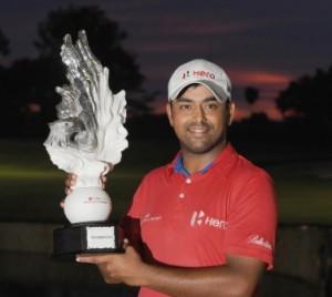 Anirban Lahiri celebrates his victory in Jakarta.