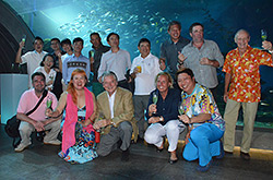 Ernst Mayer, General Manager, and Miyuki Rierson, Director of Sales and Marketing, together with golf tour operators from around the world in the signature restaurant AQUA.