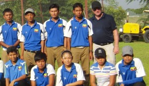Mark Holland (back row right) with his Myanmar students.