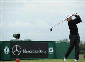 Bernhard Langer teeing-off in the 2011 Open Championship at Royal St George's.