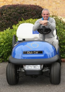 Paul McGinley with his captain's Club Car.