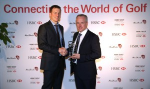 IMG's Nick Oakley (left) presents the inaugural HSBC Golf Business Community Innovation Award to Tony Judge, Chief Executive of ClubstoHire.com. Picture by Getty Images.