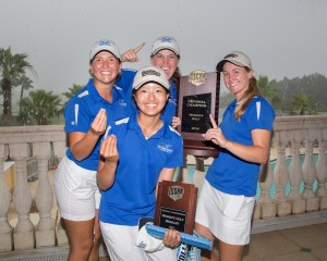 Tiffany Chan (front) of with her Daytona State team-mates after their success at the NJCAA Women's Championship.