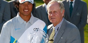 Hideki Matsuyama is congratulated on his victory by Jack Nicklaus. Picture by Getty Images.