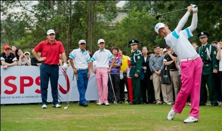 Watched by Sir Nick Faldo, Guan Tianlang tees-off in the 2012 Faldo Series Asia Grand Final.