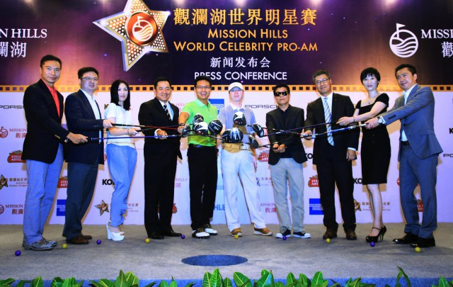 Celebrities and VIPs get in the mood for golf during Mission Hills' World Celebrity Pro-Am press conference. Picture by Miao Hua/Mission Hills