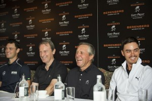 Martin Kaymer (far left) and Rickie Fowler (far right) were among those to join Gary Player at Wentworth.