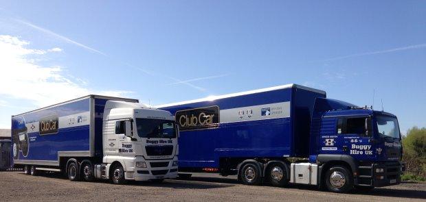 Club Car delivery trucks at Gleneagles.