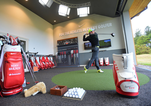 Rory McIlroy tries out the Nike Performance Fitting Centre at Archerfield Links.