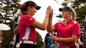 Brooke Henderson (right)  is leading the way for Canada in Japan. Picture by Getty Images.
