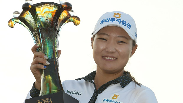 Mirim Lee holds aloft the trophy at Pine Valley. Picture by Getty Images.