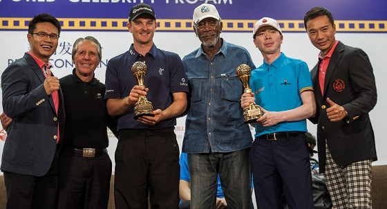 Justin Rose (third from left) and Chinese film director Feng Xiaogang (second from right) display their trophies after winning the Pro-Celebrity Team category. Also pictured (from left) are Mission Hills Group Chairman Ken Chu; nine-time Major winner Gary Player; Oscar-winning actor Morgan Freeman; and Mission Hills Group Vice Chairman Tenniel Chu. Picture by Power Sport Images for Mission Hills
