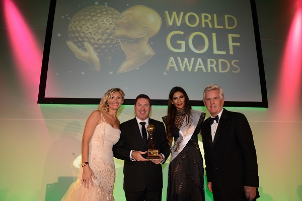 David Townend, Senior Vice President The Els Club Teluk Datai, accepts the award for 'World's Best New Golf Course' at the World Golf Awards.