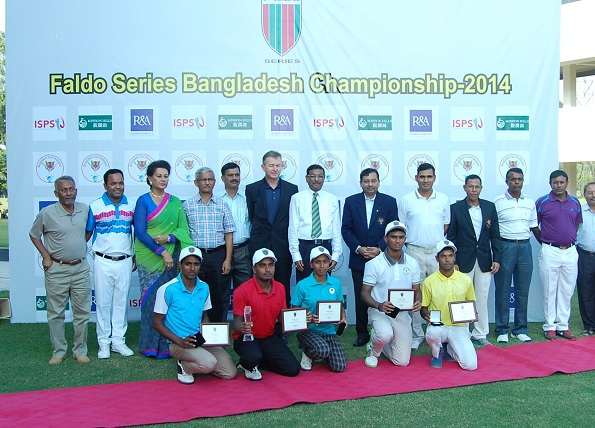 Guests and VIPs with age group winners [front row] at the inaugural Faldo Series Bangladesh Championship.