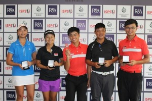 Group winners at the Faldo Series Singapore Championship [from left to right] Linette Chua, Jacqueline Young, Louis Tee, Tommy Tan and Lucius Toh.