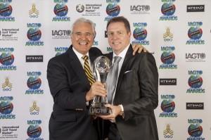 Sanya Tourism Association Executive Chairman Michel Goget with IAGTO'S Peter Walton.