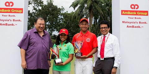 Foundation for SportExcel Chairman Tunku Tan Sri Imran Almarhum Tuanku Ja'afar, Girls' champion Siti Zulaikhaa Shaari, Boys' champion Leon D'Souza, AmBank Group Head for Group Corporate Communications and Marketing Syed Anuar Syed Ali.