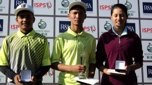 Aryan Kumar [left], Arun Tamang [centre] and Aditi Ghimire [right] were the age-group winners in the Faldo Series Nepal Championship.