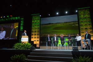 Peter Dawson, Ty Votaw, Suzann Pettersen, Graeme McDowell, Amy Alcot and Gil Hanse take to the stage at the Olympic Golf Forum in Orlando.