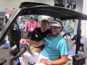 Bubba Watson visited the Garia booth during the PGA Show.