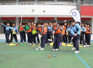 Children from HKCKLA Buddhist Wisdom Primary School in Fanling enjoy a ShortGolf class as part of the Hong Kong Golf Association's Golf for Schools programme.