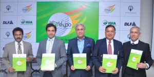 B. Suman, Joint Secretary, Ministry of Tourism; Aakash Ohri, Getambar Anand, Arun K. Singh and Rishi Narain at the curtain-raiser of India Golf Expo.