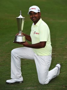 Anirban Lahiri with the Indian Open trophy.