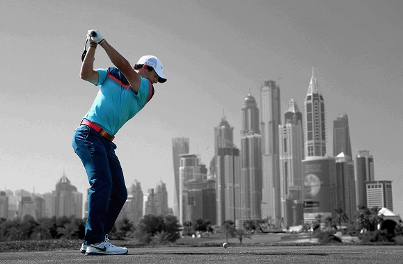 Rory McIlroy en route to victory in Dubai.