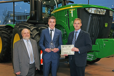 John Deere AG & Turf Apprentice of the Year Alistair Baillie (centre) with Guy Schornig-Moore and Richard Halsall.