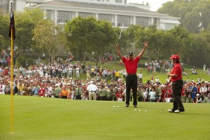 Tiger Woods conducting a golf clinic during his last trip to China.