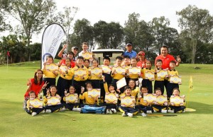 Children from SKH Wing Chun Primary School during their visit to Hong Kong Golf Club.