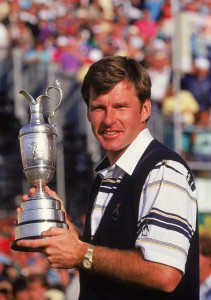 Nick Faldo holds aloft the Claret Jug after winning the British Open in 1990. Picture by David Cannon/Allsport