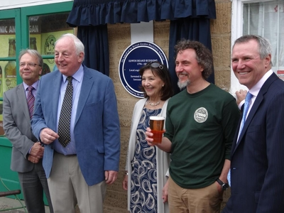 David Hagg (Stroud District Council), Chris and Trish Biddle, Greg Pilley (Stroud Brewery) and David Withers.