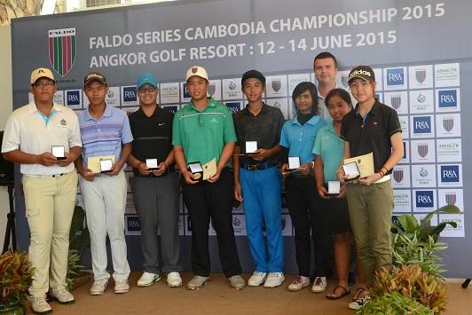 Faldo Series Cambodia Championship divisional winners celebrate their success at Angkor Golf Resort.