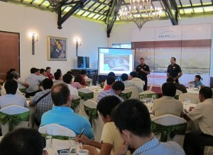 Toro's Andrew Price and Rain Bird's Chris Gray making their joint presentation at the Hanoi event.
