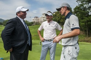 Iain Roberts (left) is pictured with Ryder Cup stars Ian Poulter and Justin Rose at Mission Hills in China, where he is Group Executive Director. Picture by Power Sport Images