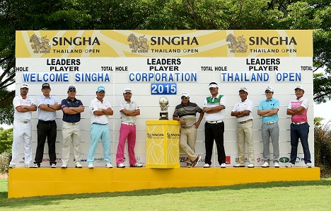Players pose for a picture by the scoreboard at Thailand Open.Picture by Paul Lakatos/OneAsia.