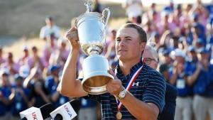 Jordan Spieth with the US Open trophy.