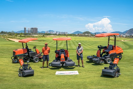 Jacobsen's Frederico Santa-Barbara and Neil Cleverly with a selection of Jacobsen equipment at the Rio Olympic golfing venue.