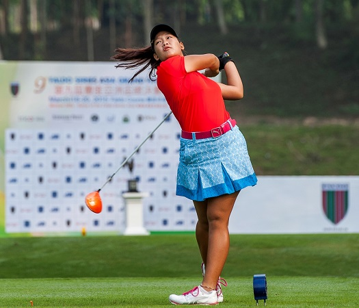 Nguyen Thao My teeing-off during the ninth Faldo Series Asia Grand Final. Picture by Xaume Olleros/Power Sport Images