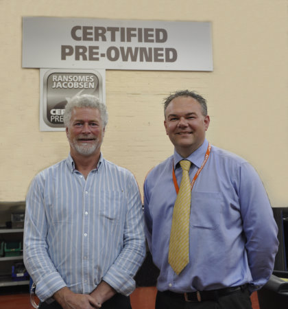 Mick Shaw (left), Ransomes Jacobsen's newly appointed CPO Sales Manager, with Customer Care Director Jason King.