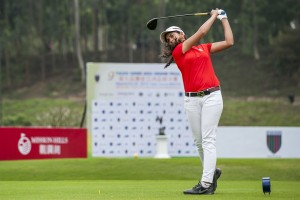 Gaurika Bishnoi teeing-off during the 2014-15 Faldo Series Asia Grand Final at Mission Hills China. Picture by Xaume Olleros/Power Sport Images