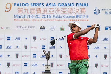 Mohd Rasel teeing-off at the ninth Faldo Series Asia Grand Final. Picture by Xaume Olleros/Power Sport Images