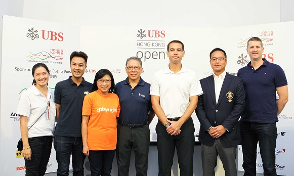 Caleb Chan, Founder of Friends of Asia Hong Kong (centre), with Bjoern Waespe, Global Head of Sponsorship, UBS (third from right) and Kenneth Lam, Captain of Hong Kong Golf Club (second from the right) were with representatives from three local charities.  Photograph by Daniel Wong
