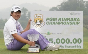Poom Saksansin celebrates his win in the PGM Kinrara Championship. Picture by Arep Kulal/PGM Tour